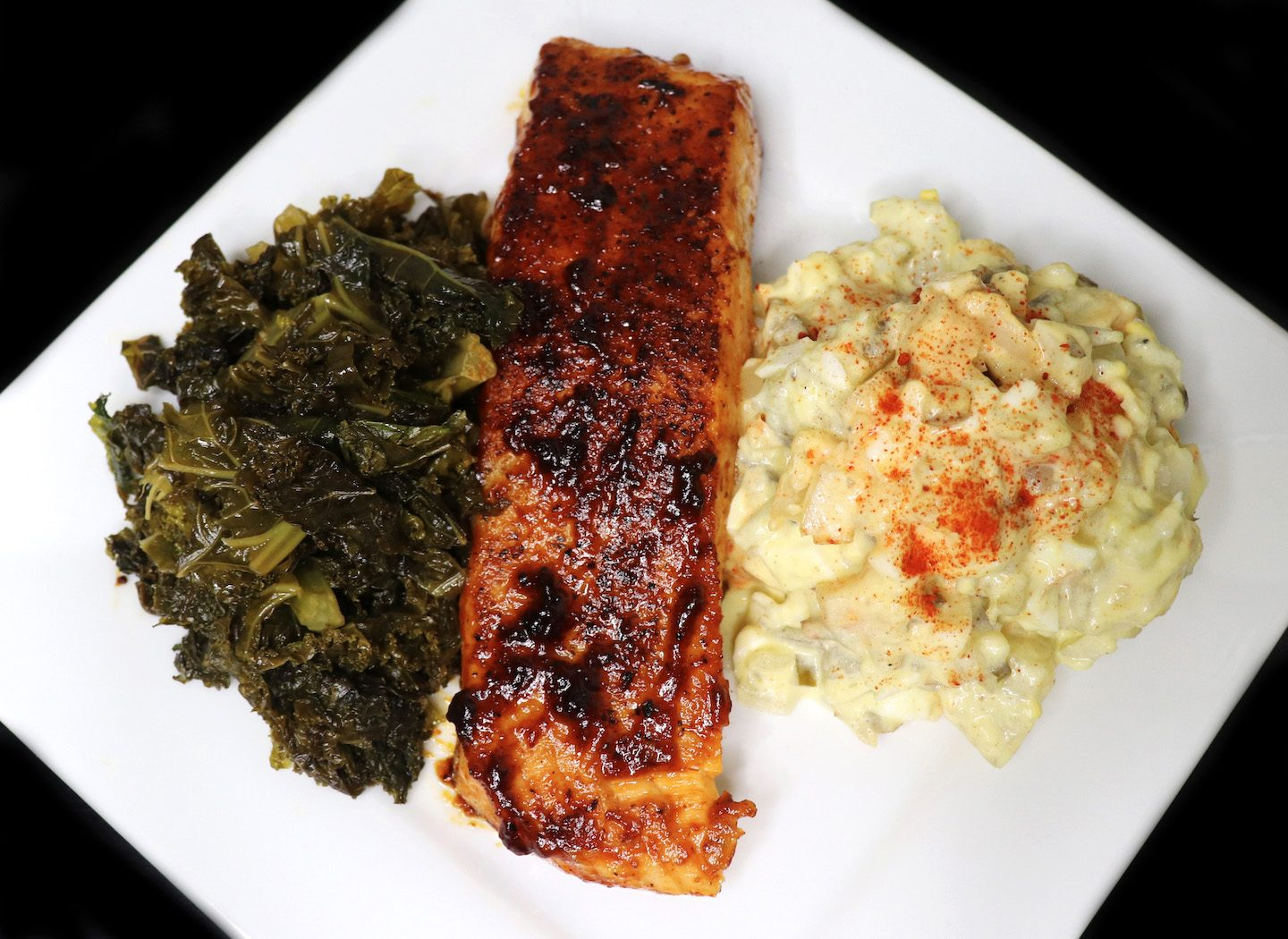 Southern Style Potatoe Salad with BBQ Salmon and sauteed Kale