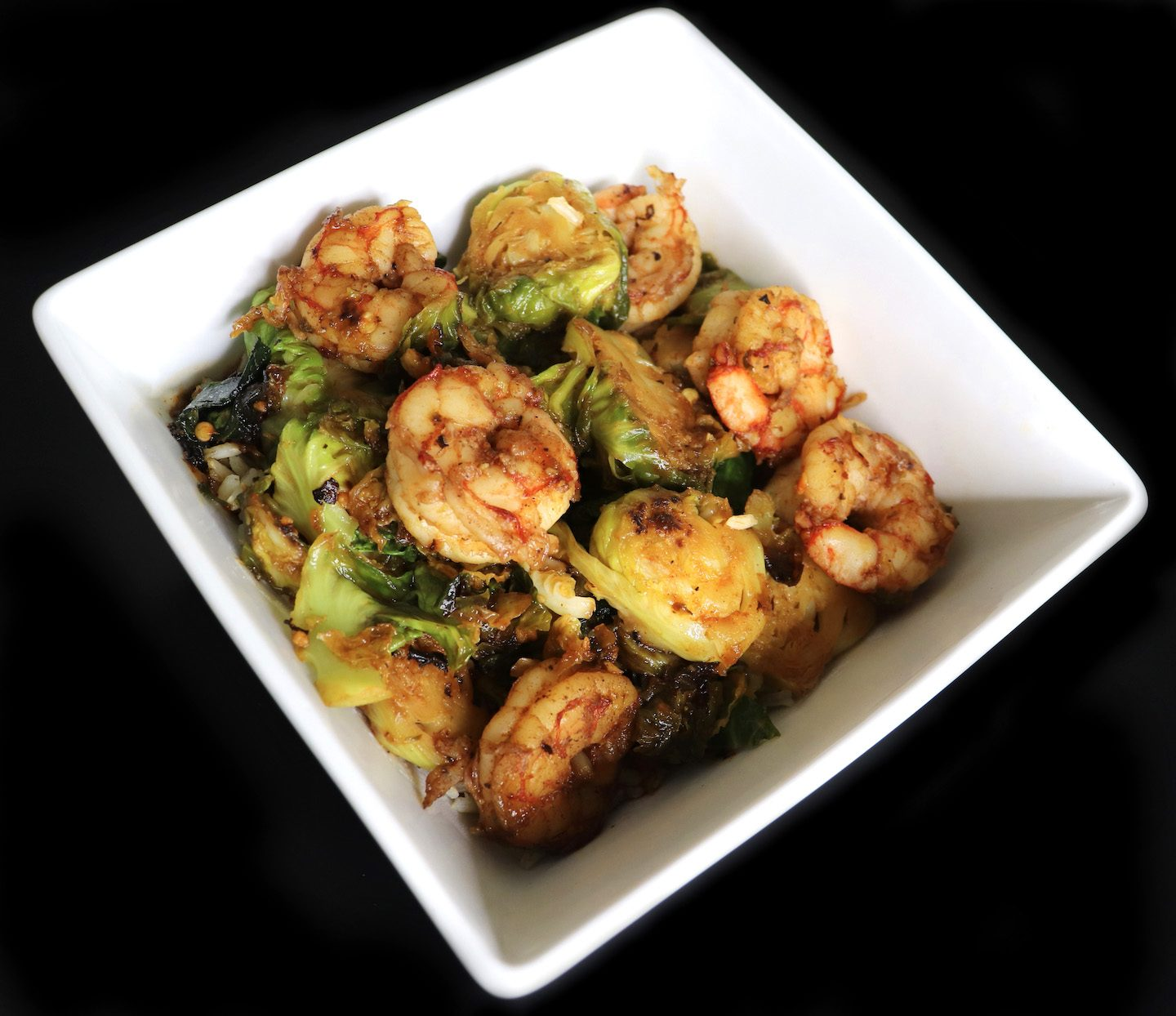 Sriracha Maple Shrimp & Brussels Sprouts Stir Fry