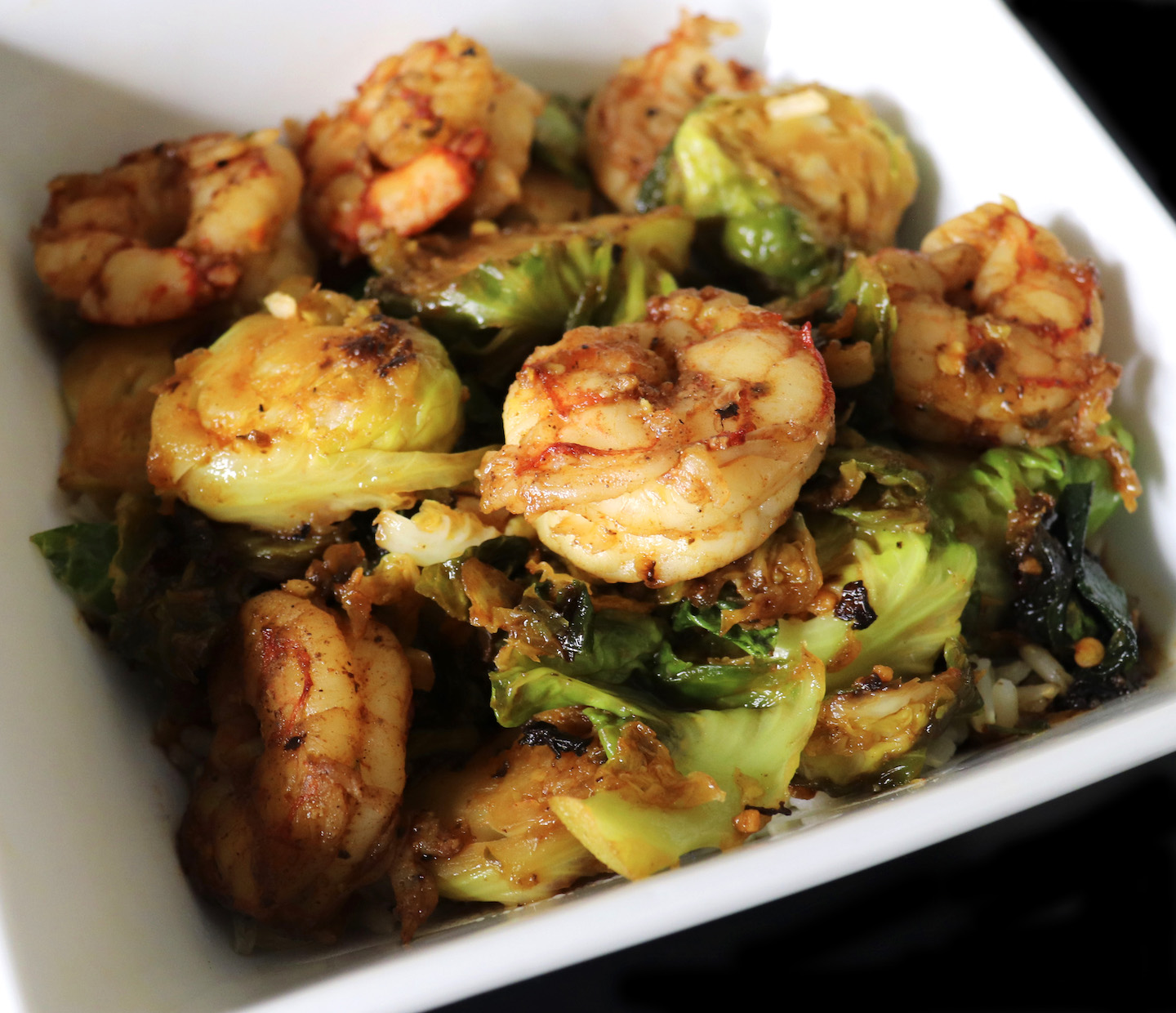 Sriracha Maple Shrimp & Brussels Sprouts Stir Fry Recipe