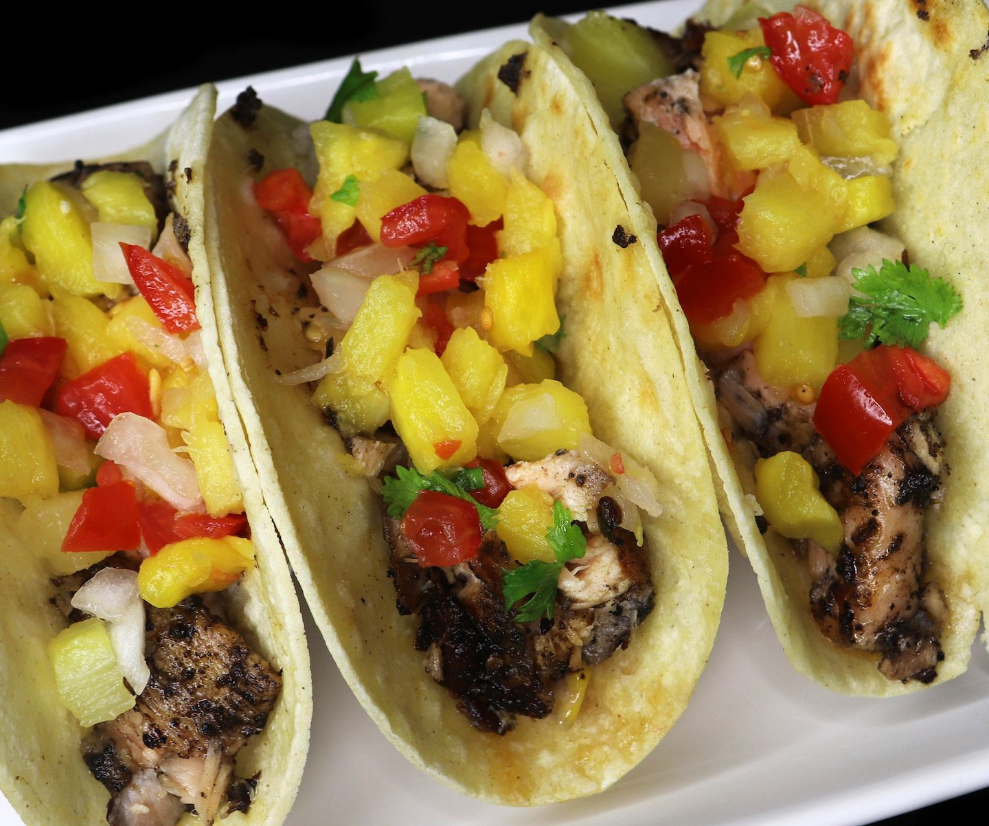 Jerk Salmon Tacos With Pineapple Salsa