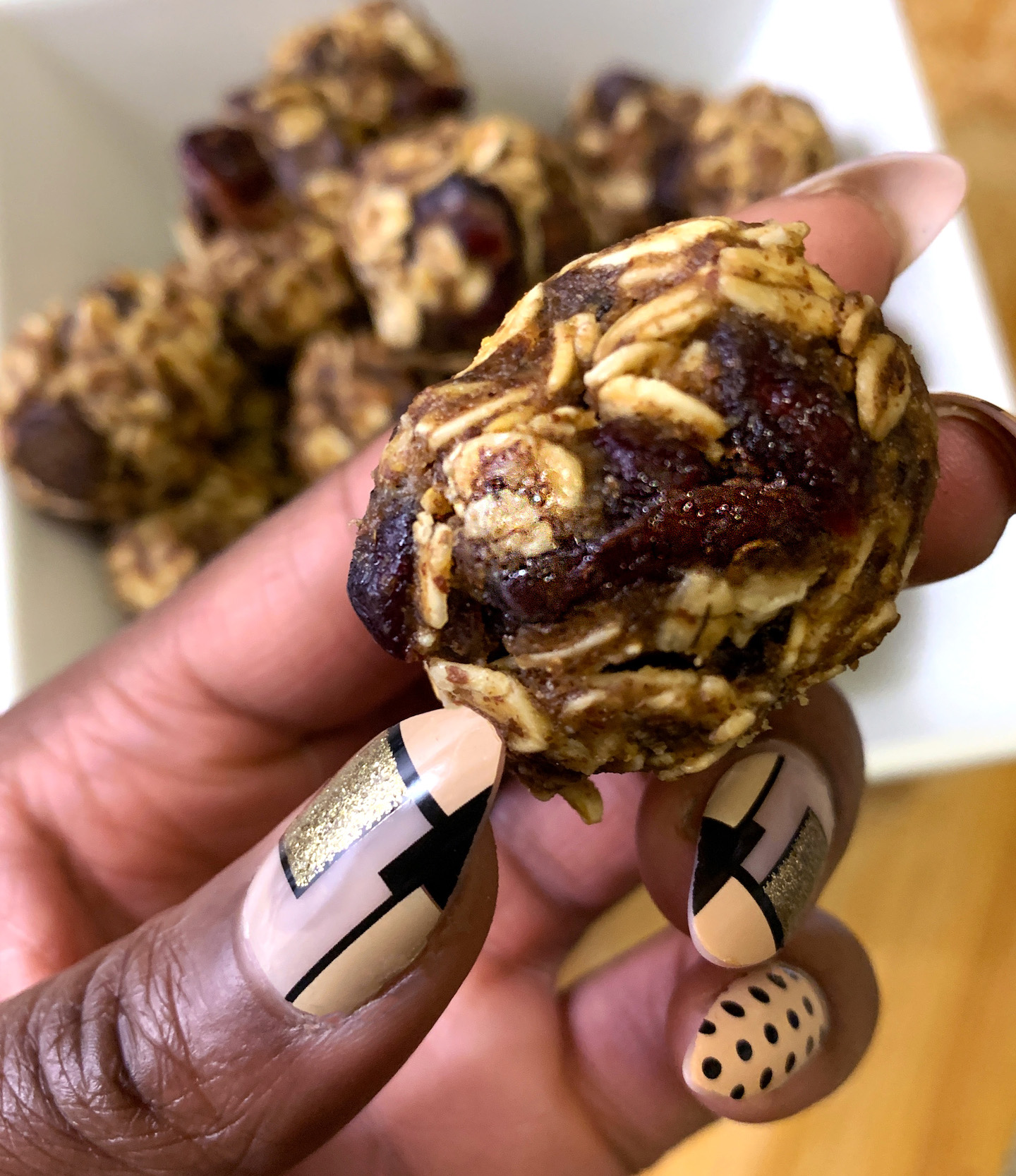 Cranberry Chocolate Protein Balls Size
