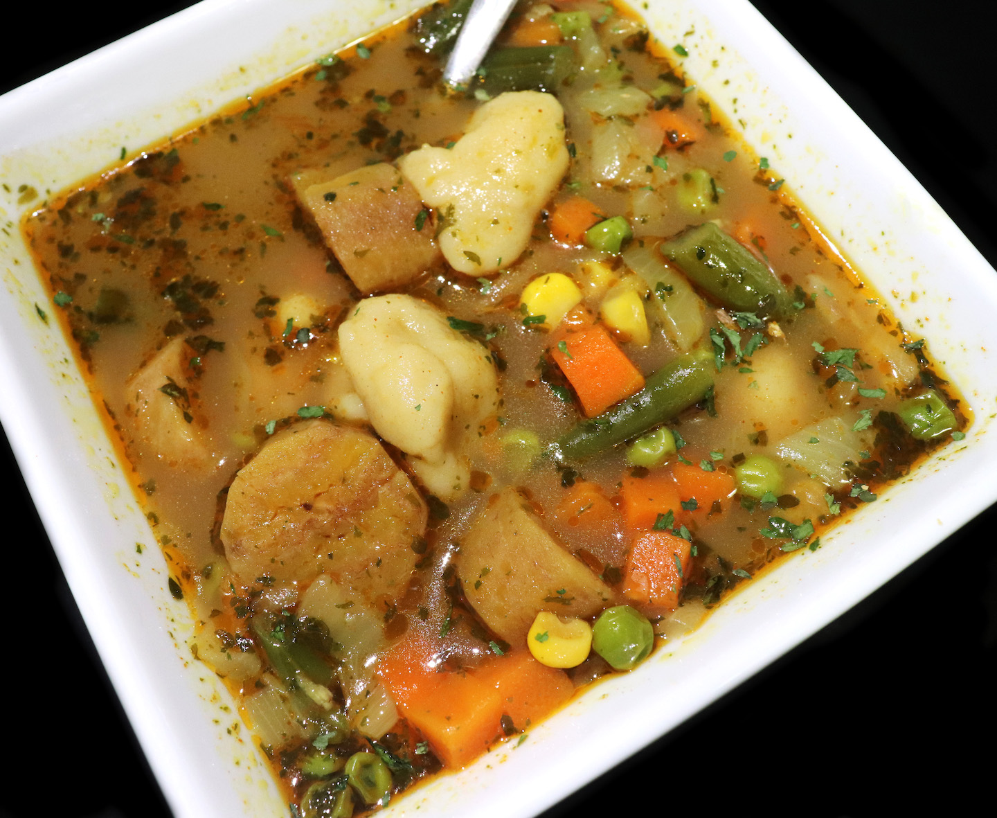Vegetable Dumpling Soup With Plantains Recipe