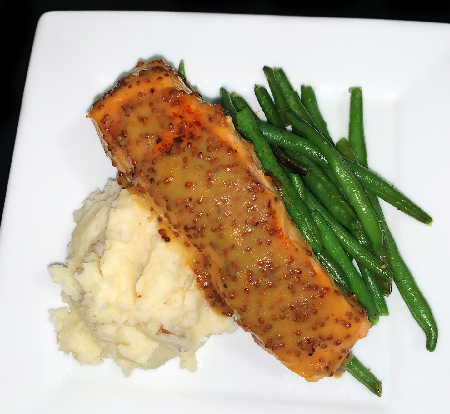 Honey Mustard Salmon With Mash And Haricots Verts