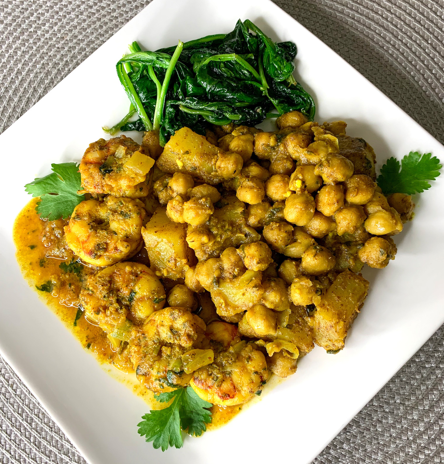 Curry Shrimp With Channa And Aloo Recipe
